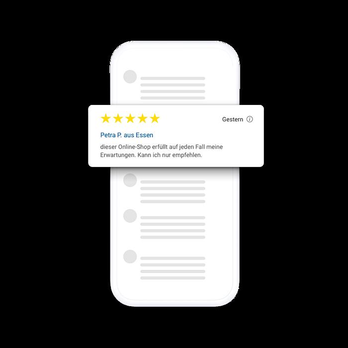 Trusted Shops Bewertungen vor einem Smartphone